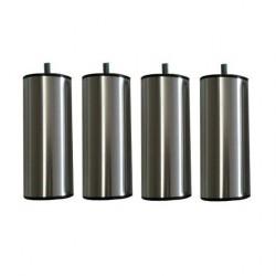 Jeu de 4 pieds Cylindre acier chromé